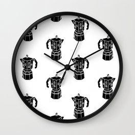 Moka Coffee Pot coffee lover black and white minimal modern kitchen linocut art Wall Clock