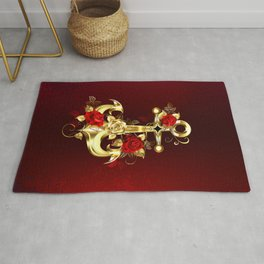 Golden Anchor with Roses Rug