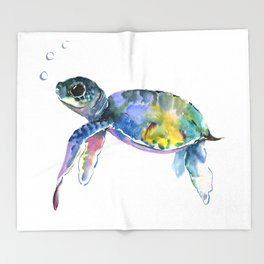 Sea Turtle, children artwork Illustration Throw Blanket
