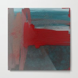 Blue and Red Abstract Metal Print