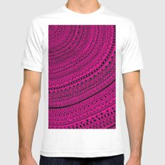 Hot Pink Pulse o4. MEDIUM Mens Fitted Tee White