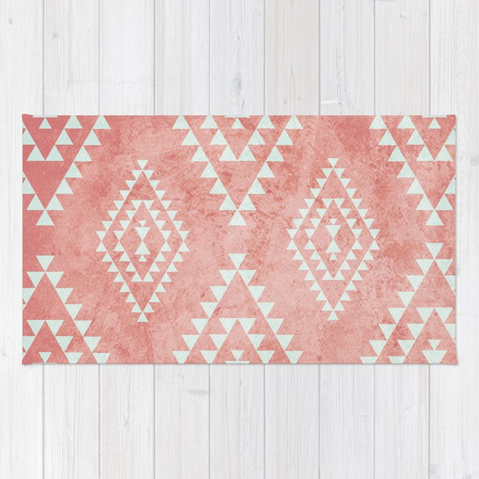 Mint Amp Coral Tribal Pattern 2 Rug By Daniellebourland
