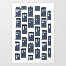 Doctor WHO Tardis Pattern Art Print