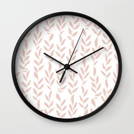 Blush Pink Minimalist Leaves Pattern Wall Clock