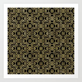 Chinese Pattern Double Happiness Symbol Gold on Black Art Print