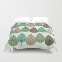 mid century Duvet Covers featuring Mid Century Trees by Johnson Waters
