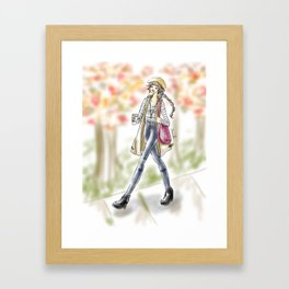 Fall Fashion Coffee Girl Framed Art Print