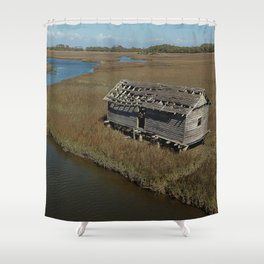 Bald Head Creek Boathouse | Bald Head Island, NC Shower Curtain