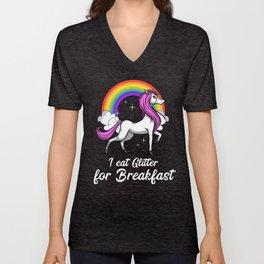 Magical Unicorn I Eat Glitter For Breakfast Rainbow Unisex V-Neck