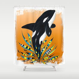 Cute Orca Whale Orange Doodle Splash Shower Curtain