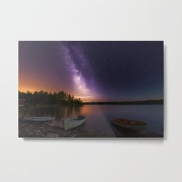 Stars Norway Milky Way Three of a Kind Space Nature Lake landscape photography Boats Night Scenery night time Metal Print