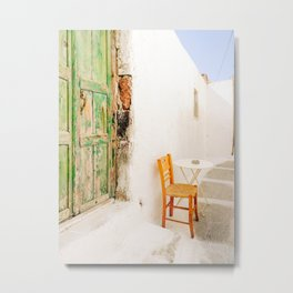 Charming Wooden Chair on Santorini Island Greece Metal Print