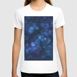 Blue Snowflakes Winter Christmas Pattern T-shirt