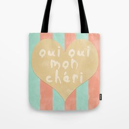 Oui Oui Mon Cheri Throw Pillow with Stripes and a Heart Tote Bag