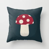 mushroom Throw Pillows featuring mushroom by Emma S