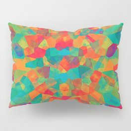 Teal Multi Colored Abstract Shapes Pillow Sham