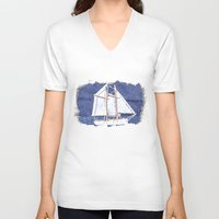 sailboat V-neck T-shirts featuring Sailboat by Michael Moriarty Photography