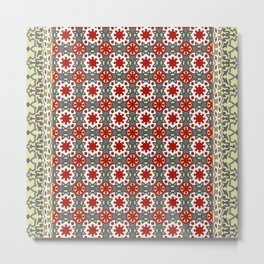 V12 Red Traditional Moroccan Rug Pattern. Metal Print