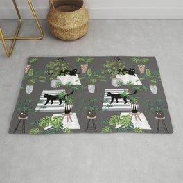 cats in the interior dark pattern Rug