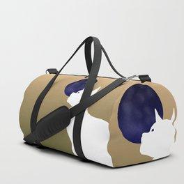 Moon and white cat Duffle Bag