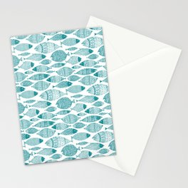 Green Fish White Stationery Cards