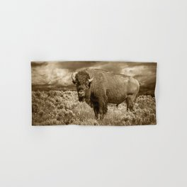 American Buffalo in Sepia Tone Hand & Bath Towel