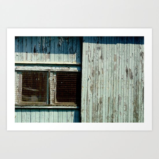 Teal garage door and windows Art Print