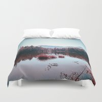 buddhism Duvet Covers featuring Winter Lake by Schwebewesen • Romina Lutz