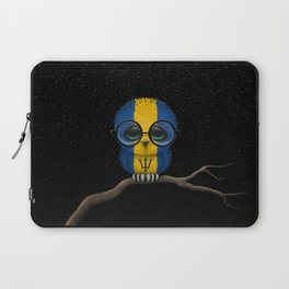 Baby Owl with Glasses and Barbados Flag Laptop Sleeve