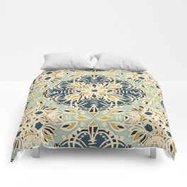 Protea Pattern in Deep Teal, Cream, Sage Green & Yellow Ochre  Comforters