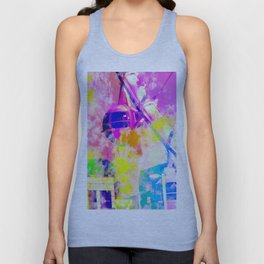 Ferris wheel and modern building at Las Vegas, USA with colorful painting abstract background Unisex Tank Top