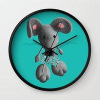 rat Wall Clocks featuring Rat by Laurel