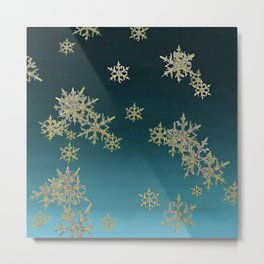 """MORE SNOW"" TEAL BLUE ART DESIGN Metal Print"