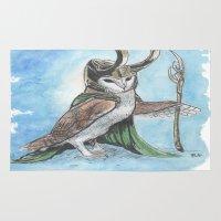 loki Area & Throw Rugs featuring loki barnowl by melissa E