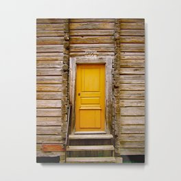 What lies behind the orange door? Metal Print