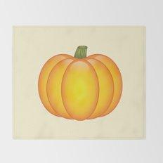 Orange Pumpkin Cartoon Illustration Throw Blanket