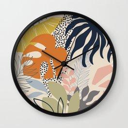 Tropical Foliage Pattern 1 - Retro Boho Wall Clock