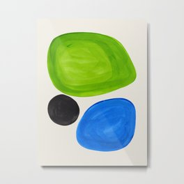 Mid Century Modern Retro Minimalist Colorful Shapes Phthalo Blue Lime Green Native Pebbles Metal Print