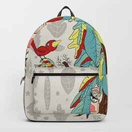 quirky bohemian boho tree, leaves and feather fantasy woman / girl Backpack