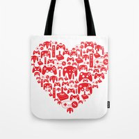 gaming Tote Bags featuring Gaming Love by Tombst0ne