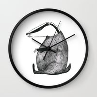 badger Wall Clocks featuring Badger by Emma Jansson