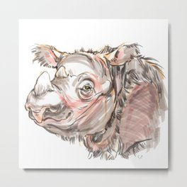 "Harapan ""Harry"" the sumatran rhino Metal Print"