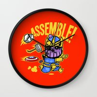 thanos Wall Clocks featuring Assemble! by Demonigote