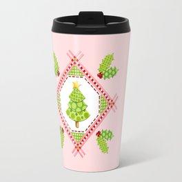 Pink Polka Dot Holiday Tree Travel Mug