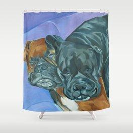 Boxer Buddies Dog Portrait Shower Curtain