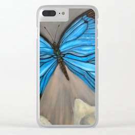 Ulysses Blue Butterfly Clear iPhone Case