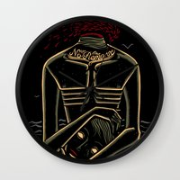 camus Wall Clocks featuring the stranger - camus by miles to go