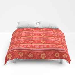 Bright Red Flowers Comforters