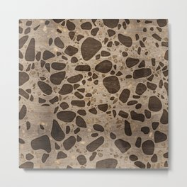 Terrazzo - Mosaic - Wooden texture and gold #6 Metal Print