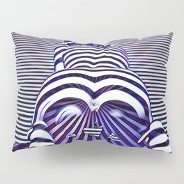 2519s-JPC Blue Striped Nude Woman From Behind Pillow Sham